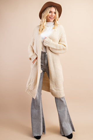 BULKY TEXTURED SWEATER OPEN CARDIGAN