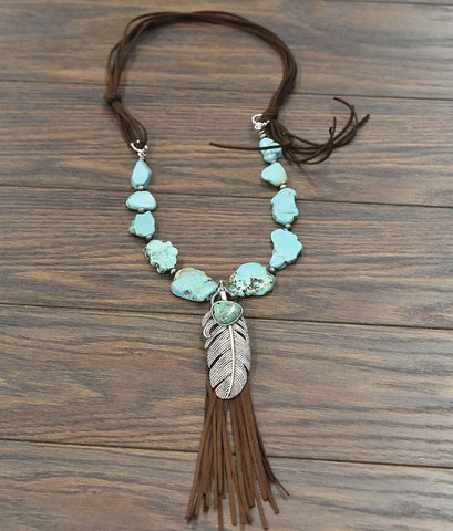 "36"" Long, Natural Turquoise Slab Necklace"
