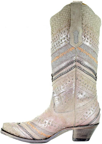 Metallic Embroidered Studded Western Boots