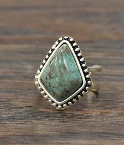 Natural Turquoise Adjustable Ring with Double Band