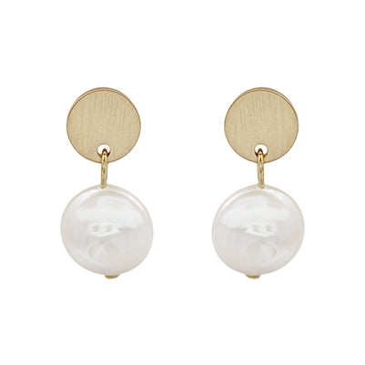 "Gold Coin Stud .5"" Earring with Freshwater Pearl Drop"