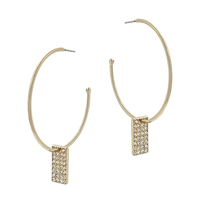 "Gold Hoop with Rhinestone Rectangle Drop 2"" Earring"