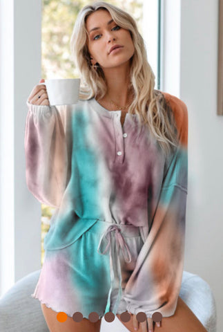 Multicolor tie dye knit pajamas set