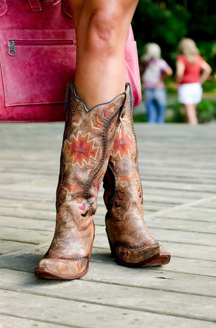 Corral Boots Ladies Cognac/Multicolor Aztec