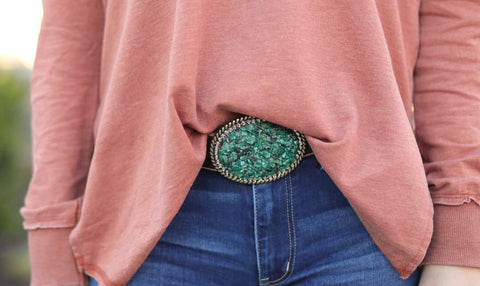 Jade Bling Belt Buckle with leather belt brown distressed leather