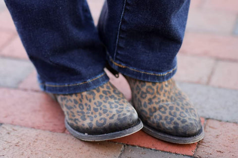 Leopard Print Zipper Ankle Boot Round Toe by CORRAL (PRE-ORDER ONLY)