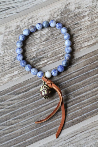 Blue Bracelet with Painted Bead