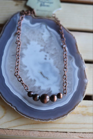 METAL BEAD ON CHAIN NECKLACE
