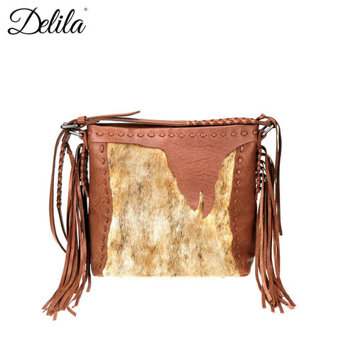 Delila 100% Genuine Leather Hair-On Hide Collection Crossbody