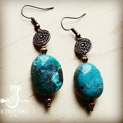 Natural Turquoise Puffy Earrings with Copper Accents