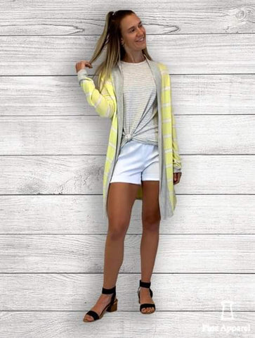 Yellow/Grey Stripe Open Cardigan