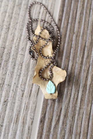Ball Chain Necklace with Turquoise Chip Leaf