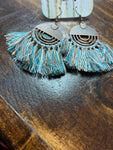 Denim Blue Fan Tassel Earrings
