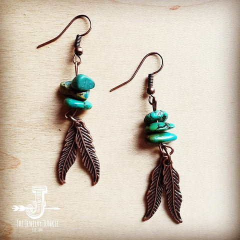 Natural Turquoise and Copper Feather Earrings