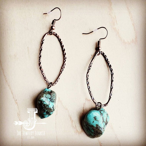 Hammered Copper Earrings w/ Seafoam Green Turquoise