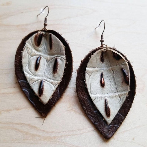 Leather Double Stacked Earrings-Brown & Cream Gator