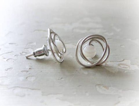 Heavy Wrap Mother of Pearl Sterling Stud Earrings