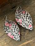 Snow Leopard and Rose Floral Leather Earrings