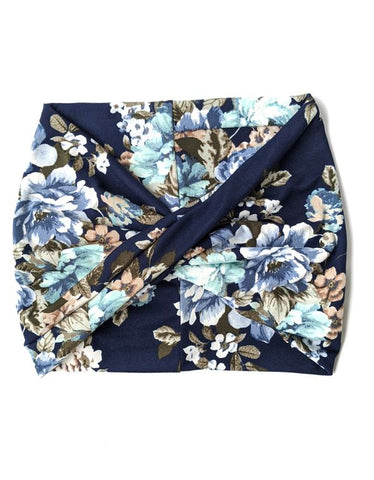 Navy Bouquet Floral Women's Wide Headband