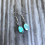 Small Abalone Shells Earrings . Diamond Round or Oval
