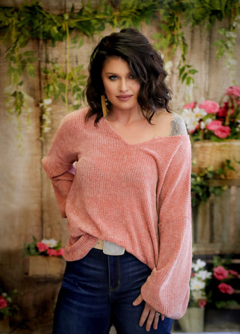 SUPER SOFT CHENILLE LOOKING SWEATER KNIT TOP
