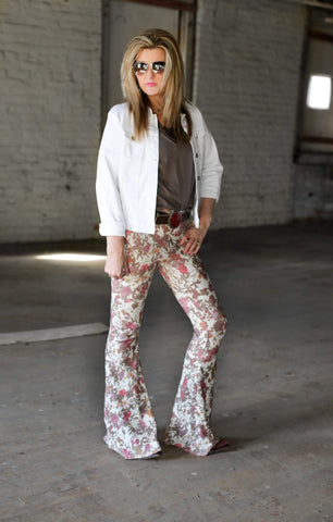 Flower print pleats jersey flare pants