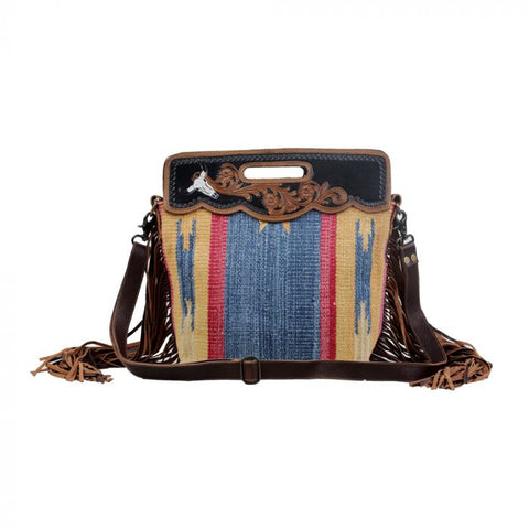 BLUE STREAM HAND-TOOLED BAG