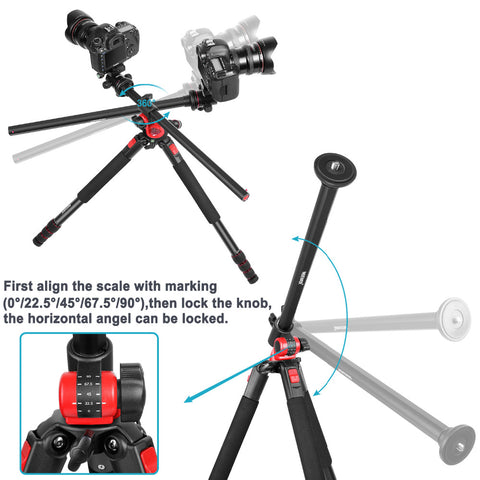"Neewer 2-in-1 Tripod/Monopod with 360 Degree Rotatable Ball Head 72.5"" Aluminium"