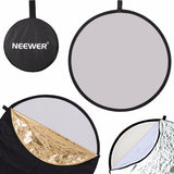 "Neewer 43"" 5-in-1 Collapsible Multi-Disc Light Reflector with Bag - Translucent, Silver, Gold, White and Black"
