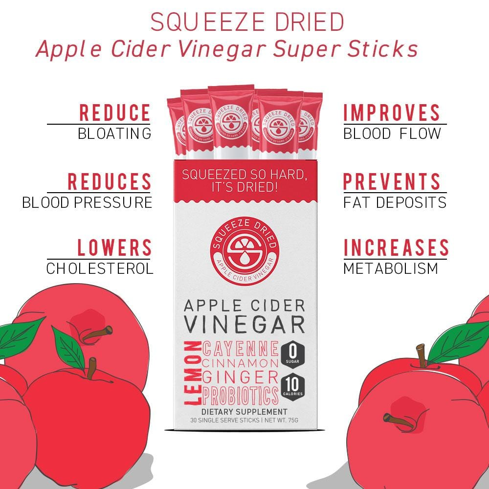 Squeeze Dried Apple Cider Vinegar (ACV)! Our special cleansing blend includes apple cider vinegar, lemon, cayenne, cinnamon, ginger, and probiotics. Simply add 1 stick of our ACV powder to your water and enjoy, on-the-go. Each box contains 30 single-serving drink sticks.