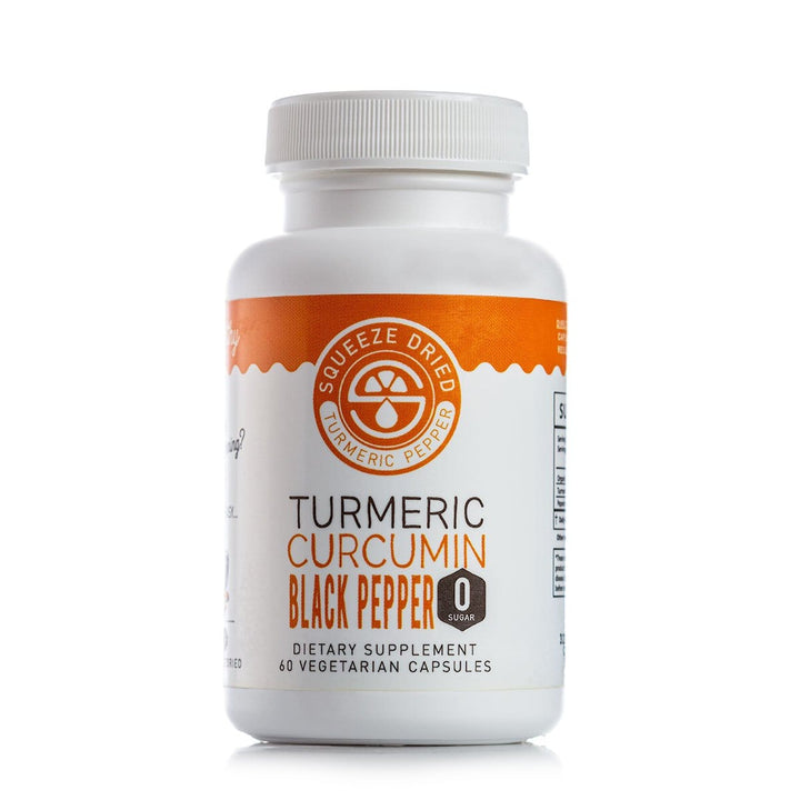 Turmeric Curcumin Pepper Vegetarian Capsules-TURMERIC, CURCUMIN, ORANGE, BLACK PEPPER, and GINGER-Squeeze Dried