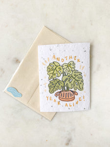 another year alive — seeded greeting card: basil