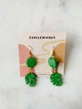Load image into Gallery viewer, small monstera — dangle earrings