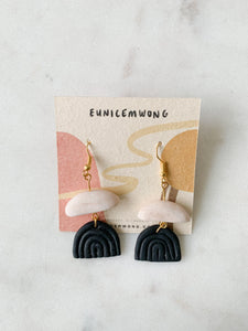 b/w half moons — dangle earrings