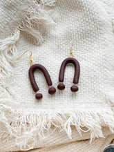 Load image into Gallery viewer, u in brown — dangle earrings