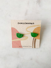 Load image into Gallery viewer, mini green rainbows — stud earrings