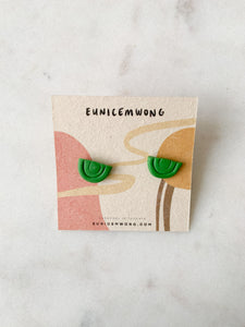mini green rainbows — stud earrings