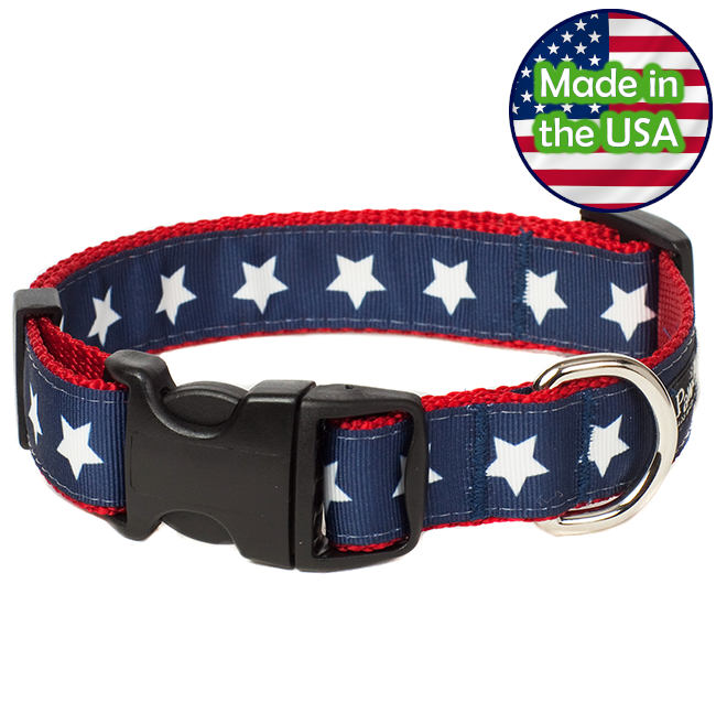 Paw Paws Dog Collar - Americana Park Stars Medium