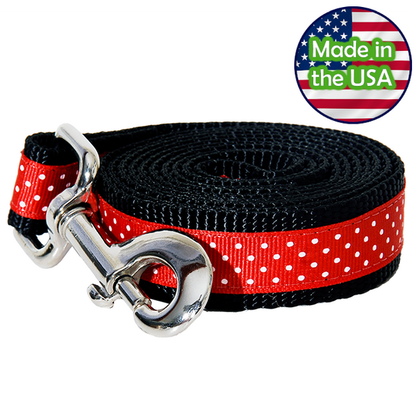 Paw Paws Dog Leash - Pembroke Polka Dot Black & Red Medium