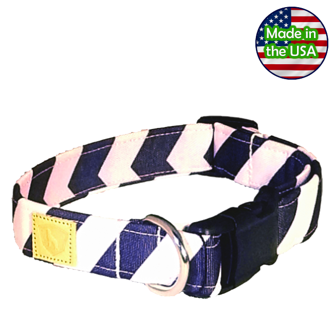 Alpha Pack Unleashed Waterproof Dog Collar - Blue Chevron Large