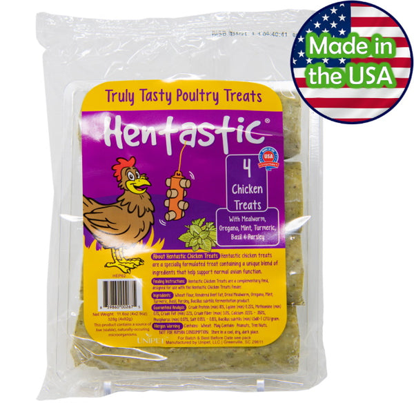 Hentastic® Chicken Treats with Mealworm, Oregano, Mint, Turmeric, Basil, and Parsley with Probiotics