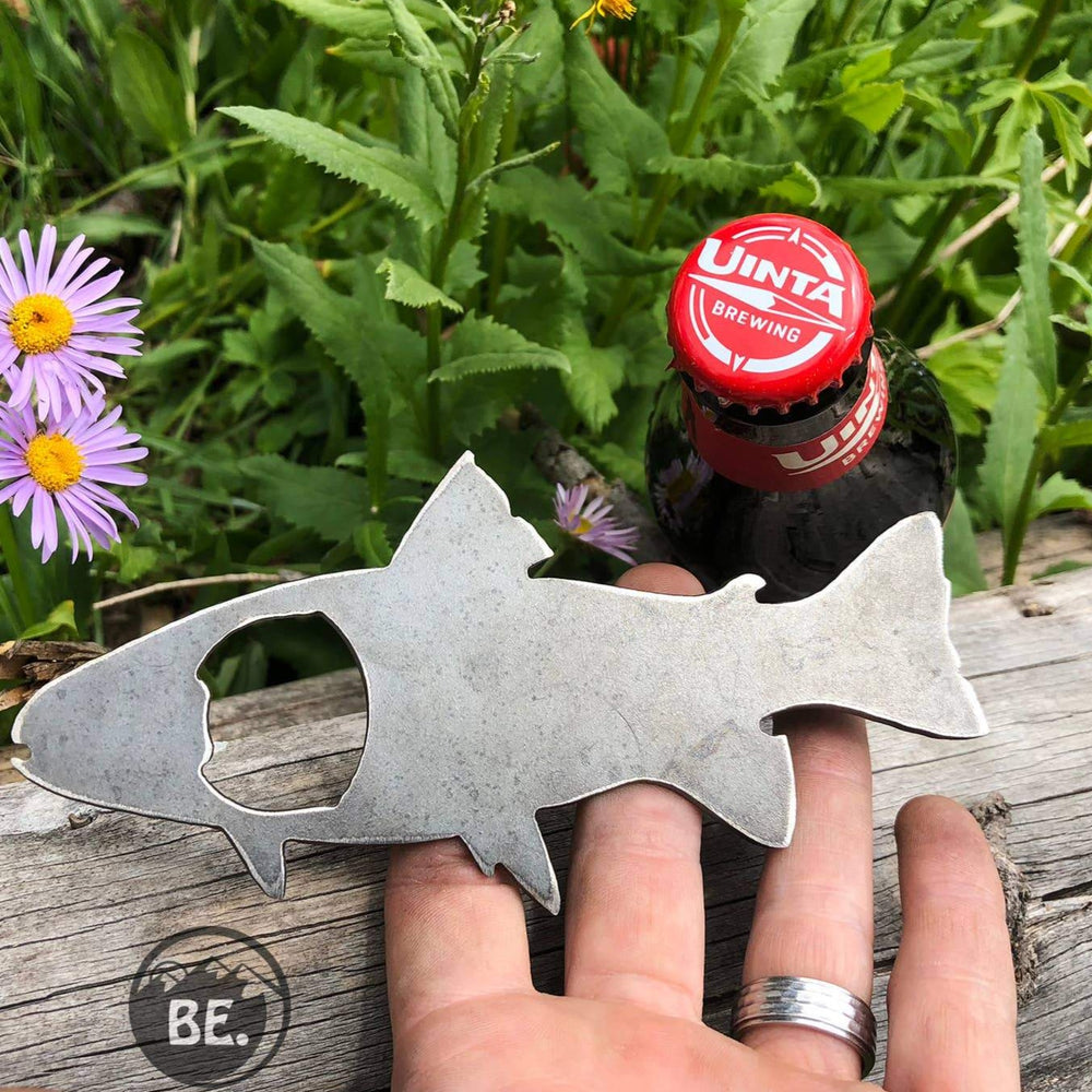 BE Creations & Designs, Inc. - Trout Fish Rustic Bottle Opener made from Recycled Raw Steel