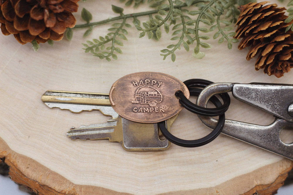 The Traveling Penny - Happy Camper Keychain