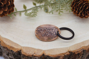 The Traveling Penny - World Map Keychain
