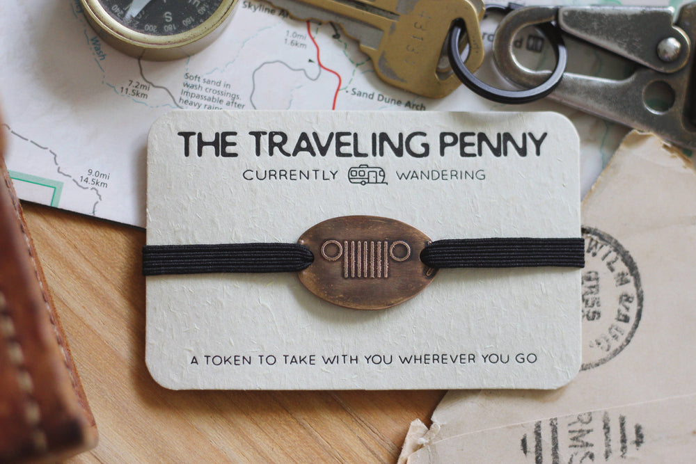 The Traveling Penny - Jeep Stacking Bracelet- Leather