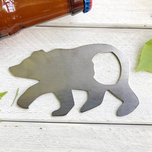 BE Creations & Designs, Inc. - Bear Metal Bottle Opener made from recycled raw steel