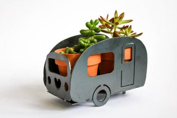Camping Trailer Metal Planter
