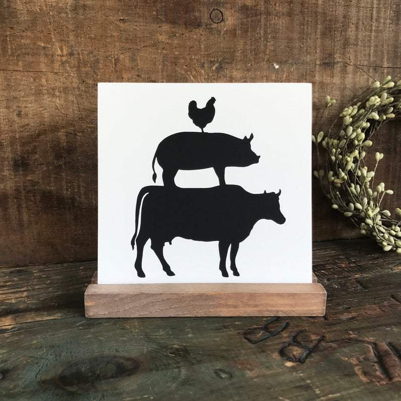 4Love - Farmhouse Animals Mini Sign