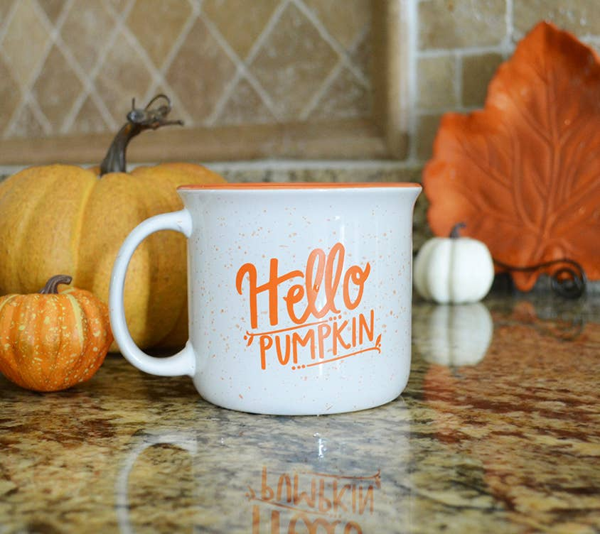 Pen & Paint - Fall Mug - Hello Pumpkin Campfire White Mug