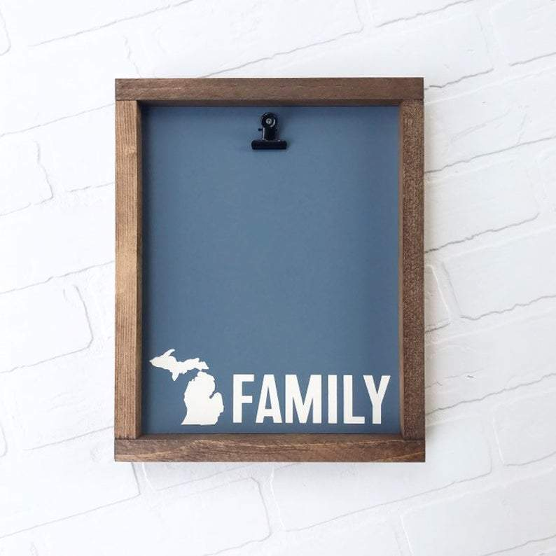 4Love - Michigan Family Picture Clip Framed Sign